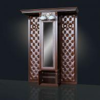 Шкаф для одежды с зеркалом, с 2-мя вешалками (без банкеток) Благо арт.Б5.13