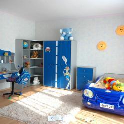 """Детская комната """"Лео"""" (кровать - машинка синяя) (Гера (BRW))"""