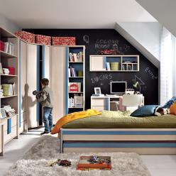 Детская комната Капс (дуб светлый беллуно+голубой) (БРВ (BRW))