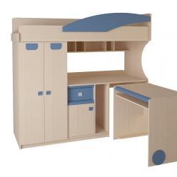 Детская № 4.4.2 Л + выкатной стол (синий) (Корвет)