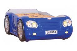 Кровать-машина Лео с матрацем Арт. Л-16 (синяя) (Гера (BRW))