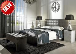 Кровать «Лорена» 160*200 (кожа с эффектом бархата FENGO) с основанием (Арника)