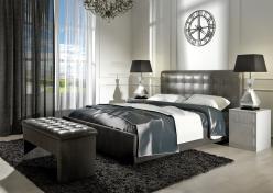 Кровать «Лорена» на 180 с под. механизмом и ящиком для белья (кожа с эффектом бархата FENGO) (Арника)
