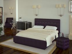 Кровать «Лорена» 140х200 со стразами и основанием (Арника)