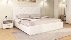 «Лина» Кровать интерьерная кожаная 140*200 с основанием и стразами (Арника)