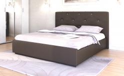 «Лина» Кровать интерьерная кожаная 180*200 с основанием и стразами (Арника)
