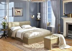 «Линда» Кровать интерьерная кожаная 140*200 см (Арника)