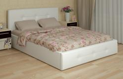 «Линда» Кровать интерьерная кожаная 180*200 см с основанием (Арника)