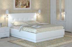 «Локарно» Кровать интерьерная кожаная 160*200 (Арника)
