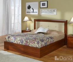 """Кровать """"Альба"""" с изголовьем из натуральной кожи и подъемным механизмом 3116Б на 160 (Дана)"""
