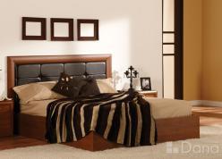Кровать с изголовьем из натуральной коричневой кожи и подъёмным механизмом на 180 (Дана)