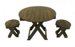 Набор садовой мебели: складной круглый стол+ 4 табурета (Этно Галерея)