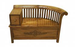 Скамья с выдвижным ящиком и частично открывающимся сидением (Этно Галерея)