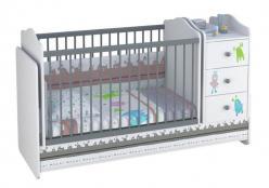 Кроватка - трансформер детская Polini Basic Монстрики с комодом, белый (Воткинская ПК)