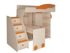 Набор мебели 4.4.1 Л/П (оранжевый) + Тумба с 4 ящиками (Корвет)
