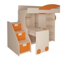 Набор мебели 4.4.1 Л/П (оранжевый) + Тумба с откидными крышками (Корвет)