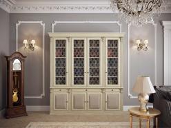 Шкаф книжный 4-х ств. для кабинета Карамель (Мебель Благо)