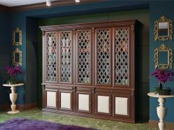 Шкаф книжный 5-ти ств. для кабинета Орех (Мебель Благо)