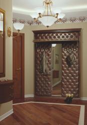 Вешалка с 6 крючками  с узким зеркалом с полкой Благо арт.Б 5.10-3 (Мебель Благо)