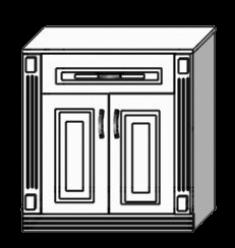 Тумба двухдверная с 1-м ящиком, с 2-я пилястрами (Мебель-Холдинг)