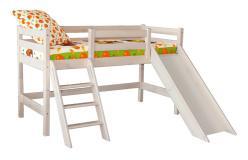 Низкая кровать «Соня» с наклонной лестницей и горкой. Вариант 14 (Мебельград)