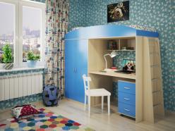 Кровать-чердак Милана-4 (дуб+синий) (Милана-мебель)