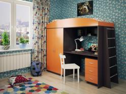 Кровать-чердак Милана-4 (венге+манго) (Милана-мебель)