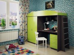 Кровать-чердак Милана-4 (венге+зеленый) (Милана-мебель)