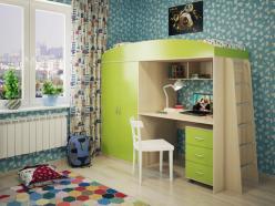 Кровать-чердак Милана-4 (дуб+зеленый) (Милана-мебель)
