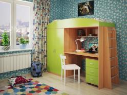 Кровать-чердак Милана-4 (бук+зеленый) (Милана-мебель)