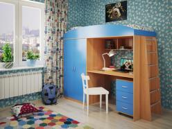 Кровать-чердак Милана-4 (бук+синий) (Милана-мебель)