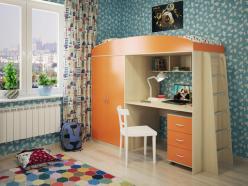 Кровать-чердак Милана-4 (дуб+манго) (Милана-мебель)