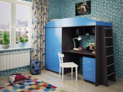 Кровать-чердак Милана-4 (венге+синий) (Милана-мебель)