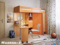 Кровать-чердак Милана-5 (бук+манго) (Милана-мебель)