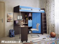 Кровать-чердак Милана-5 (венге+синий) (Милана-мебель)