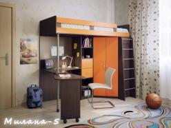 Кровать-чердак Милана-5 (венге+манго) (Милана-мебель)