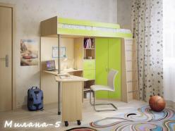 Кровать-чердак Милана-5 (дуб+зеленый) (Милана-мебель)