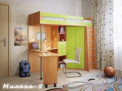 Кровать-чердак Милана-5 (бук+зеленый) (Милана-мебель)