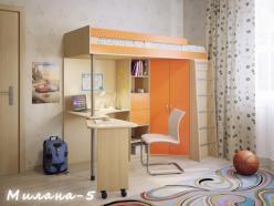 Кровать-чердак Милана-5 (дуб+манго) (Милана-мебель)