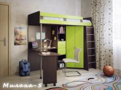 Кровать-чердак Милана-5 (венге+зеленый) (Милана-мебель)
