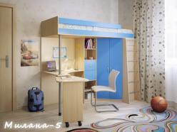 Кровать-чердак Милана-5 (дуб+синий) (Милана-мебель)