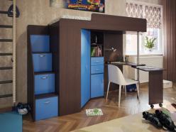 Кровать-чердак Милана-6 (венге+синий) (Милана-мебель)