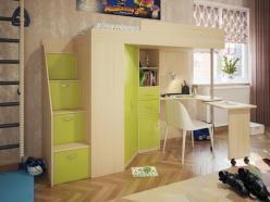 Кровать-чердак Милана-6 (дуб+зеленый) (Милана-мебель)