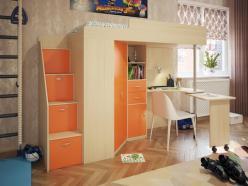Кровать-чердак Милана-6 (дуб+манго) (Милана-мебель)