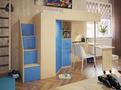 Кровать-чердак Милана-6 (дуб+синий) (Милана-мебель)