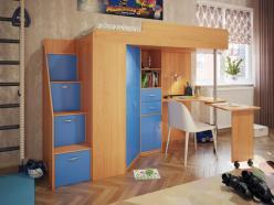 Кровать-чердак Милана-6 (бук+синий) (Милана-мебель)