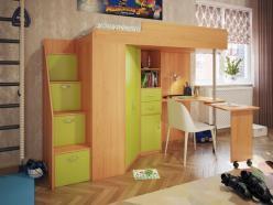 Кровать-чердак Милана-6 (бук+зеленый) (Милана-мебель)