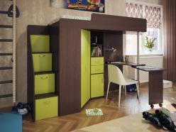 Кровать-чердак Милана-6 (венге+зеленый) (Милана-мебель)
