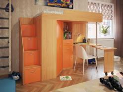 Кровать-чердак Милана-6 (бук+манго) (Милана-мебель)