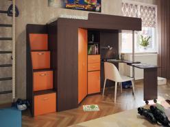 Кровать-чердак Милана-6 (венге+манго) (Милана-мебель)